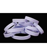 Periwinkle IMPERFECT Bracelets 12 Piece Lot Cancer Cause Silicone Wristb... - $8.97