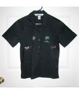 New Sz S 8-10 NINA Capri Womens Black w/Design Button SS Top Blouse S 8 ... - $6.99