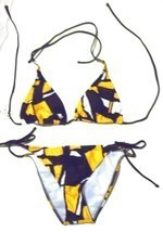 Sunsets Picasso Yellow Halter Bikini Swimsuit NWT$96 Size Small  - £44.24 GBP
