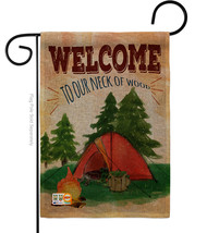 Welcome to our Neck of Wood Camping Burlap - Impressions Decorative Garden Flag  - $22.97