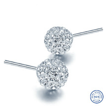 925 Sterling Silver earring CZ Cubic Zirconia clear crystal DLE67 - $12.99