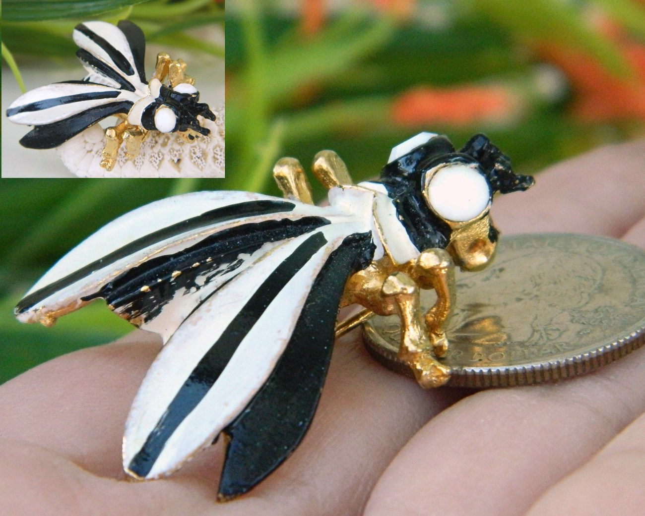 Vintage Weiß : Vintage Weiss Bug Insect Fly Brooch Pin Black White Enamel - Pins ...