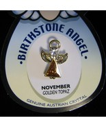 Angel Pin Golden Topaz Birthstone November Austrian Crystal lapel hatpin - $3.95