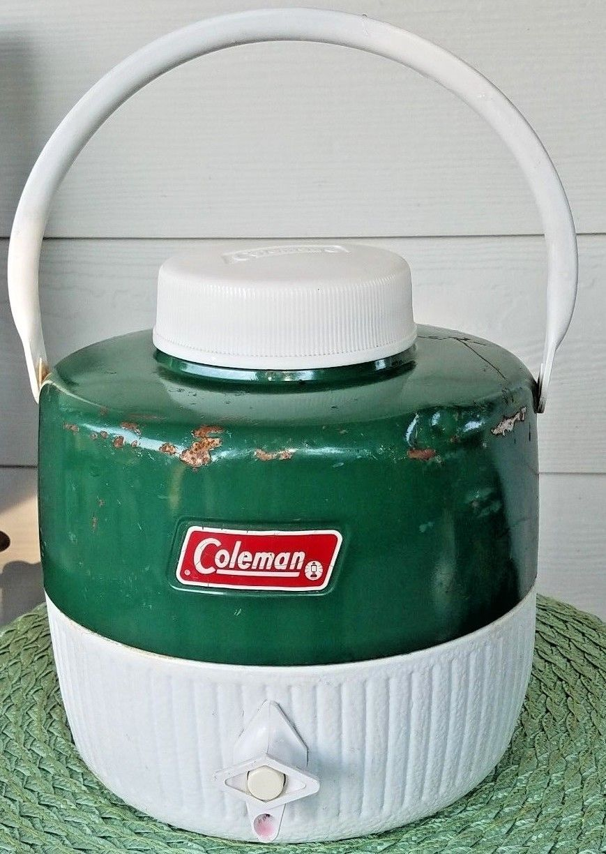 Vintage Coleman Round Water Cooler 1 Gallon Green Camping - $22.98