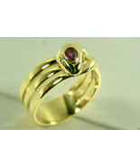18K Yellow Gold Genuine Ruby Diamond Snake Wide Band Ring Sz 9.5 9g Hand... - $752.40