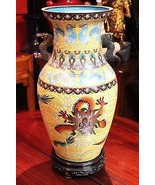 Vintage 1950s Chinese Cloisonne Dragon Motif Vase w Stand - $989.99