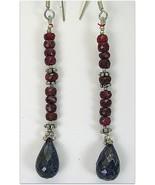 Hand Faceted Natural Ruby + Sapphire Briolettes Sterling Silver Dangle E... - $73.00