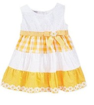 Blueberi Boulevard Baby Girls' Tiered Daisy Dress, Yellow, Size 18 - $17.81
