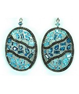 Encrusted Oval of Swiss + London Blue Topaz Ste... - $113.81