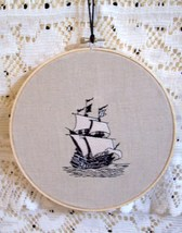 Embroidered Ship In-Hoop Wall Hanging Wall Art ... - $25.00