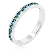 Aqua CZ Stackable Eternity Ring Birthstone Size 8 White Gold Plated - $15.00