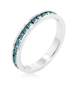 Aqua CZ Stackable Eternity Ring Birthstone Size... - $15.00