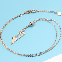18k Rose Gold Professional Women Pendant Necklace Triangle Sweater Chain image 5