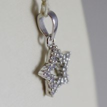 18K WHITE GOLD MINI STAR PENDANT, LENGTH 0.63 INCHES, ZIRCONIA, MADE IN ITALY  image 2