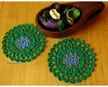 Doily trinket coaster blue flower in grn round pair w props 3027 72dpi thumb155 crop