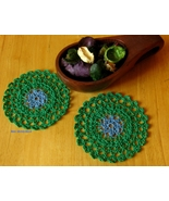 Blue Flower in Emerald Green - Fiber Art Coaste... - $10.00
