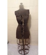 Antique adjustable dress form with metal cage skirt - $330.89