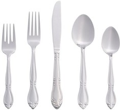 46 Piece Silver Stainless Steel Flatware Set Rose Home Dining Kitchen Di... - $52.10