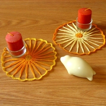 Yellow & Orange Strawflower Doily Set - Fiber A... - $6.00