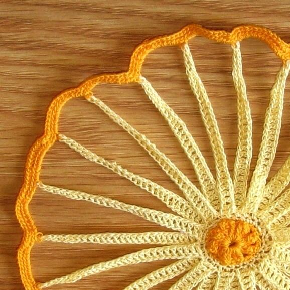 Yellow & Orange Strawflower Doily Set - Fiber Art Decor by RSS Designs In Fiber