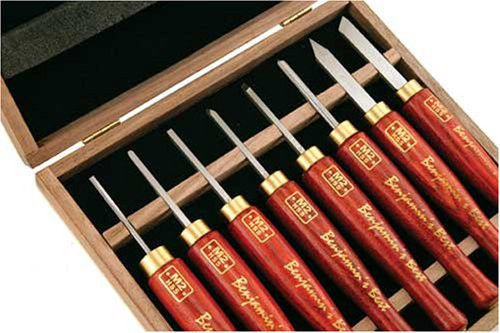 PSI Woodworking HSS Micro Detailing Anniversary Wood Lathe Chisel Set, 8-Piec