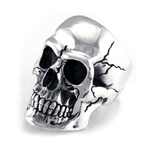 Realistic Skull Ring, Sterling Silver, Mens Biker. Sizes 7-15 with Half-... - £128.13 GBP