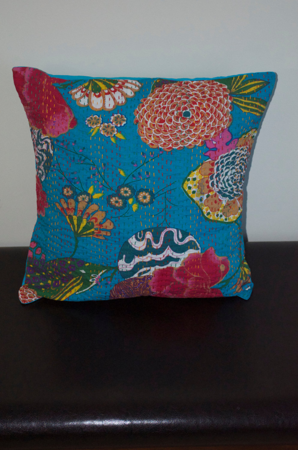 Floor Pillow Covers 25x25 : Handmade cotton cushion cover, Kantha stitch, bed decorative pillow, floor throw - Pillows