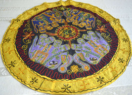 Ethnic Embroidered, Boho, Circular Tapestry, Wall Hanging, Table Cloth. ... - $808,60 MXN