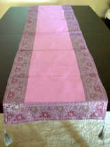 Silk brocade and zari border table runner. Very intricately designed floral patt - $27.99