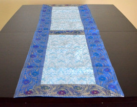 Silk table runner in beautiful brocade work in the center and intricate zari wor - $27.99