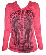 Yoga Hoodie long sleeve shirt red cotton animal Ganesha Buddha Hindu Om ... - $23.06