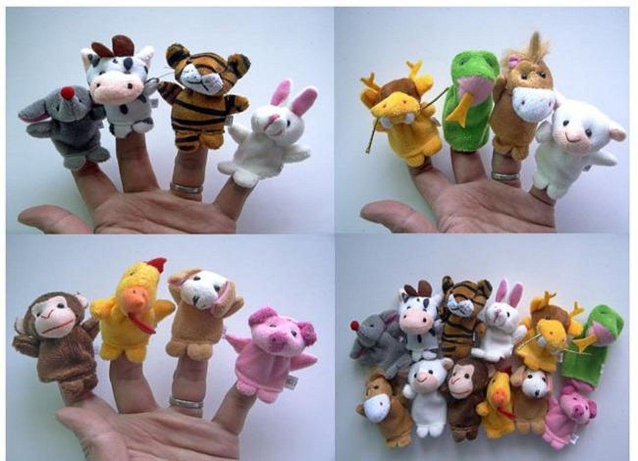 Soft Plush Velour Animal Hand Puppets Kids Animal Finger - 10 Pieces