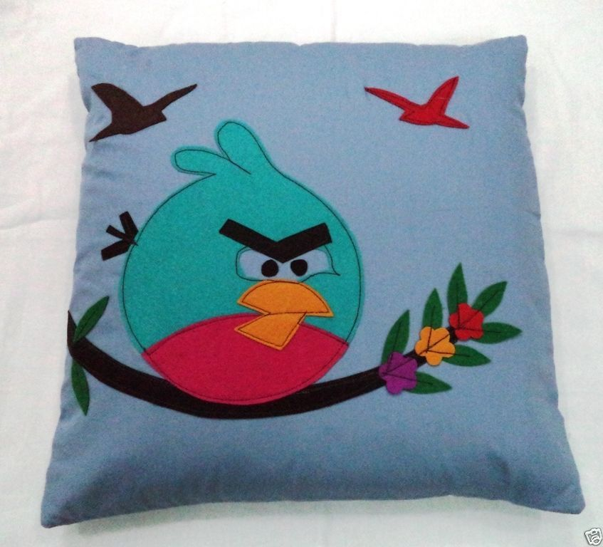 Bird Themed Throw Pillows : Decorative Patchwork Angry Bird Themed Cotton Cushion Cover,Decorative Pillow - Pillows
