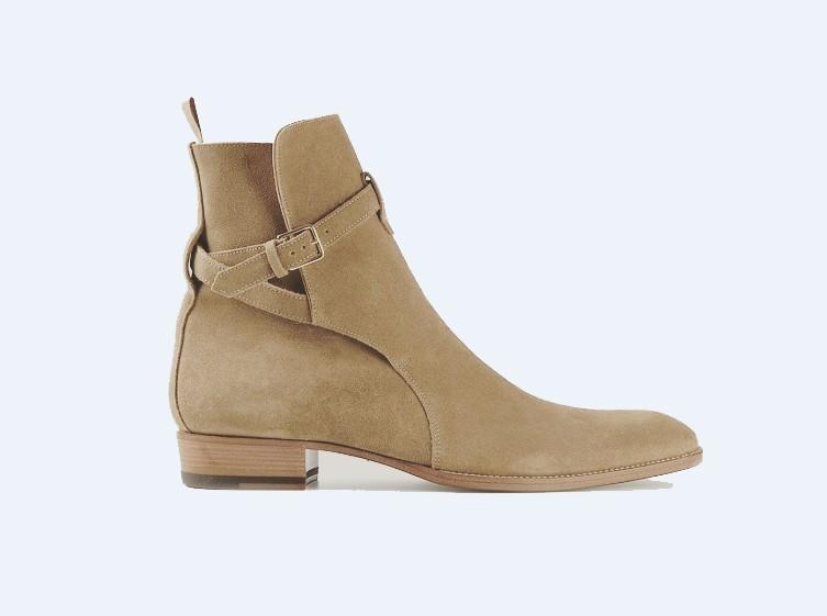 Handmade Men's Jodhpurs High Ankle Tan Suede Dress/Formal Boots