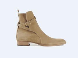 Handmade Men's Jodhpurs High Ankle Tan Suede Dress/Formal Boots image 1