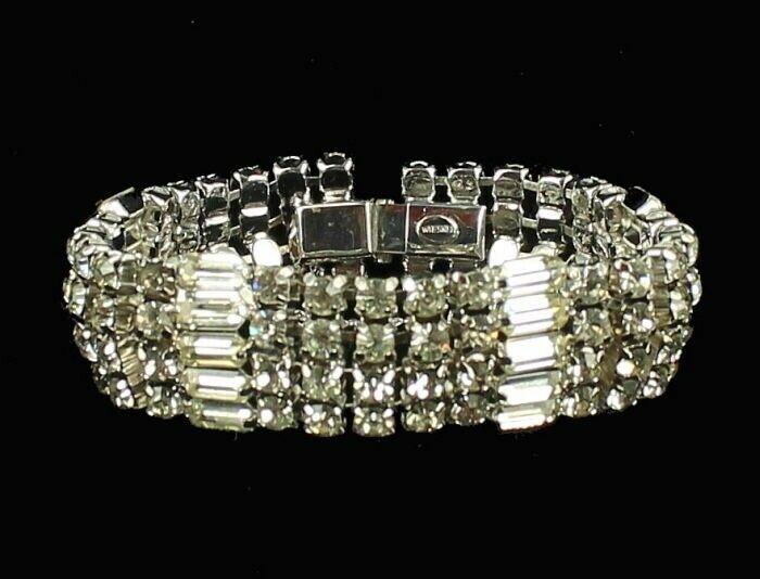 """Vintage Stunning Wiesner Wide Rhinestone Bling Bracelet Best Quality 4 Rows 7"""""""