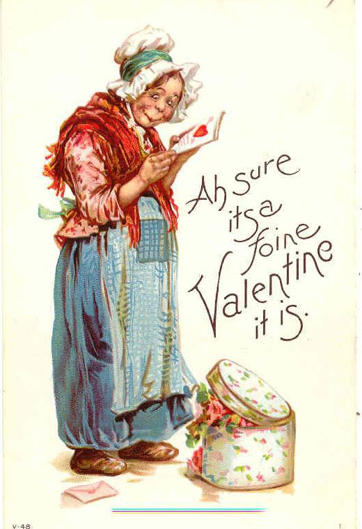 Ah sure its a foine Valentine it is Frances Brundage vintage Post Card