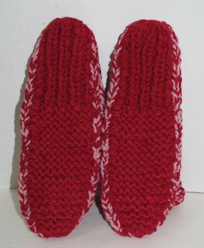 Womens Handmade Crochet Crocheted Slippers House Shoes Red Pink