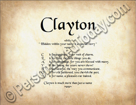 Clayton Hidden Within Your Name Is A Special Story Letter Poem  8.5 x 11... - $8.95