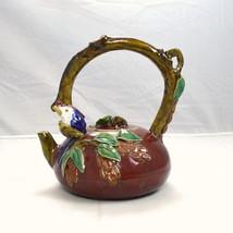 Red Stone Ware Ceramic Glaze Bird Wood Asian Si... - $113.84