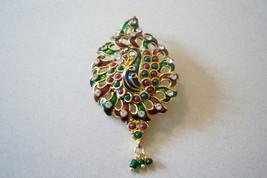 Large Multi Color Peacock Bird Pendant. Exotic Bird Pendant. - $15.00