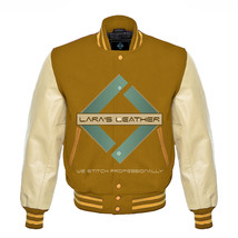 American College Letterman Varsity Camel Wool Jacket/Real Leather Sleeve... - $87.99