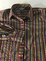 Women's Top Size S Burgundy Green Blue Striped Blouse City Blues By Kore... - $14.84