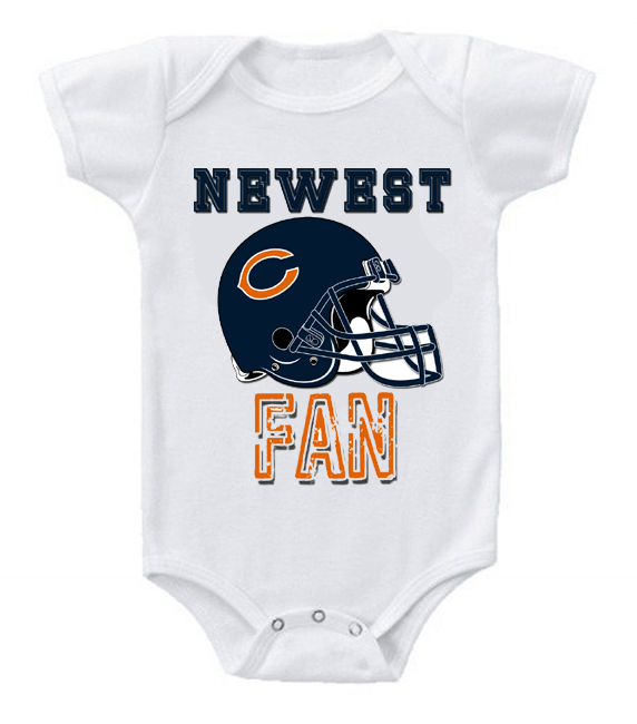 New Cute and Funny Baby Onesie Football Newest Fan NFL Chicago Bears ...
