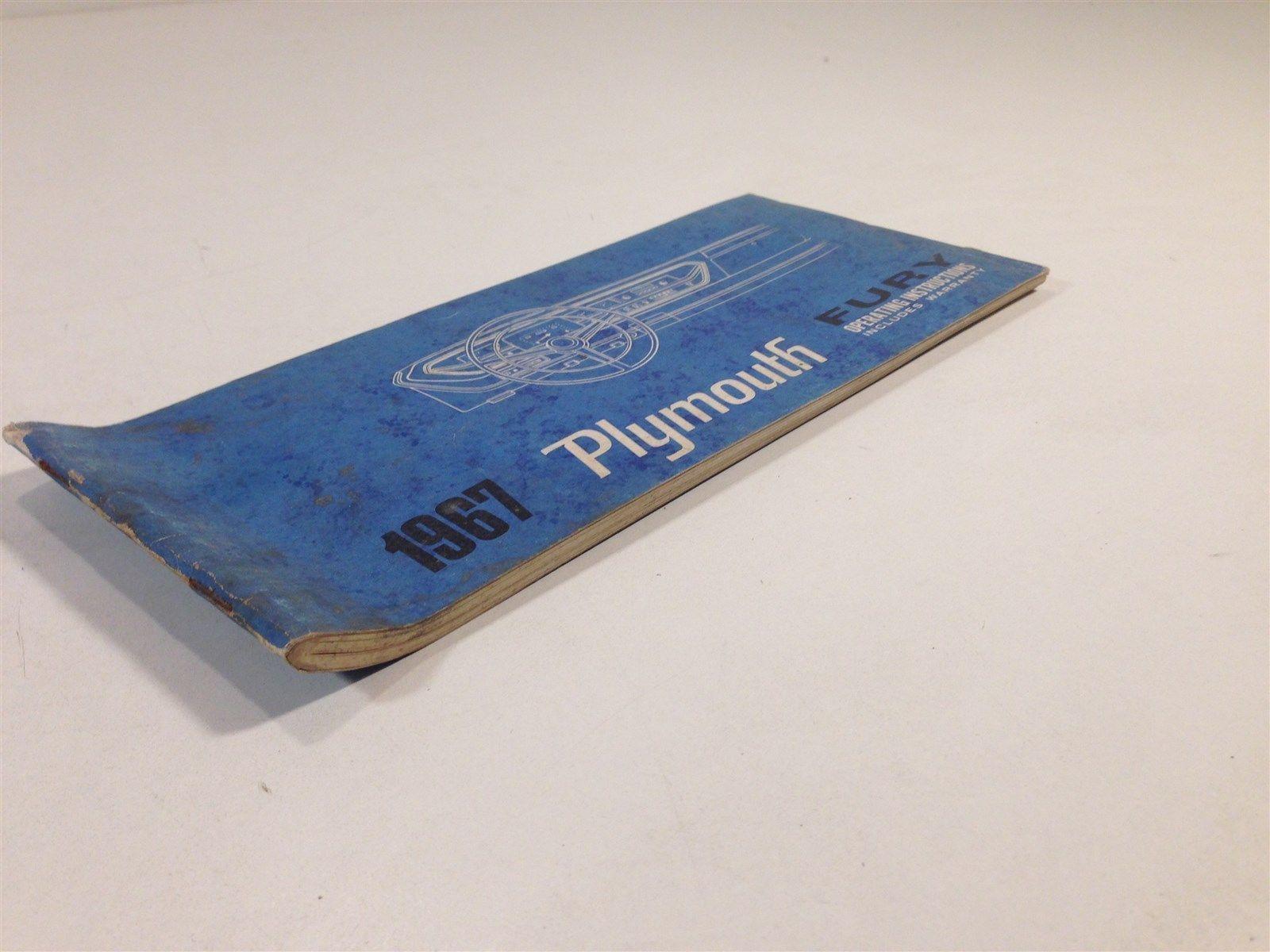 1967 Plymouth Fury Operating Instructions Warranty 81-570-7455 Glove Box
