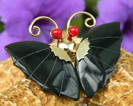 Vintage Black Onyx Butterfly Sculpted Pin Brooch Pendant Coral Eyes - $15.95