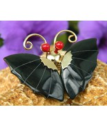Vintage Black Onyx Butterfly Sculpted Pin Brooch Pendant Coral Eyes - £12.12 GBP