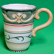 Large Fitz And Floyd Hand-Crafted Ceramic Mug With Lines And Shapes - $4.95