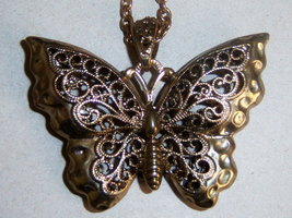 Large Puffy Butterfly Necklace. Summer Jewelry. - $13.26