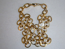 Plain Gold Tone Oval Link Chain Necklace - $11.00